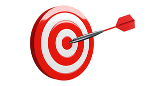 Red dart arrow hits target.Isolated on white background.3d illustration.のイラスト素材 [FYI04601677]