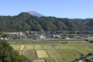 鳥取県,青空の田園と町並みの写真素材 [FYI04601989]