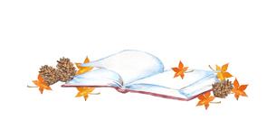 本と紅葉、読書の秋のイメージのイラスト素材 [FYI04602467]