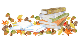 本と紅葉、読書の秋のイメージのイラスト素材 [FYI04602469]