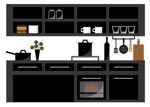キッチン(黒)のイラスト素材 [FYI04602525]