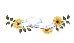 本とお花の水彩イラストのイラスト素材 [FYI04603012]