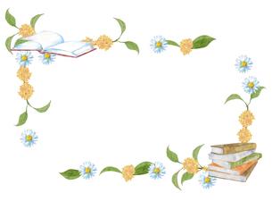 本と花のフレームのイラスト素材 [FYI04603015]