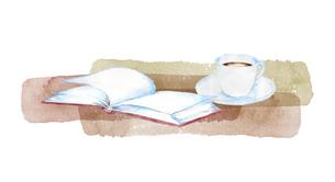 本とコーヒーの水彩画のイラスト素材 [FYI04603239]