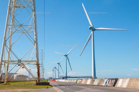 茨城県 神栖市 風力発電周辺の風景の写真素材 [FYI04603938]