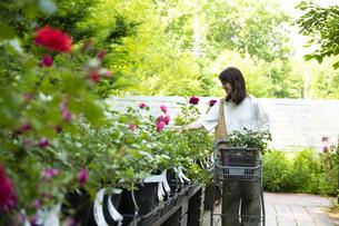 ガーデンショップで買い物をするミドルの女性の写真素材 [FYI04603962]