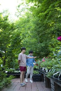ガーデンショップで買い物をする若い男性の写真素材 [FYI04603976]