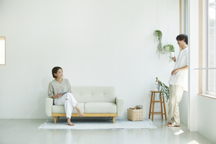 室内でソファに座りタブレットPCを見る若い女性と男性の写真素材 [FYI04604423]