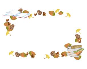 本と秋の葉のフレームのイラスト素材 [FYI04604758]