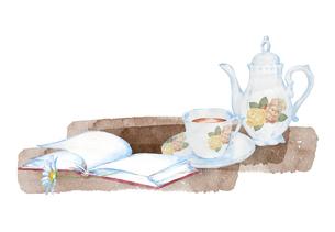 紅茶と本の水彩画のイラスト素材 [FYI04604759]