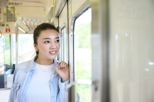 電車で女子旅をする女性の写真素材 [FYI04604785]