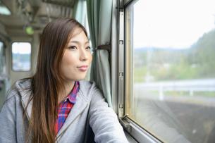 電車に乗って女子旅をする女性の写真素材 [FYI04604829]