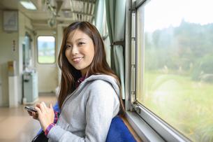 電車に乗って女子旅をする女性の写真素材 [FYI04604832]