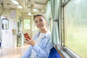電車に乗って女子旅をする女性の写真素材 [FYI04604838]
