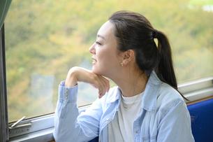 電車に乗って女子旅をする女性の写真素材 [FYI04604842]
