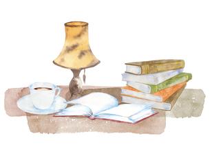 本とコーヒー、ランプの水彩画のイラスト素材 [FYI04605170]