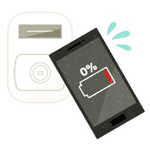 スマホ-キャッシュレス決済-バッテリー切れのイラスト素材 [FYI04605273]
