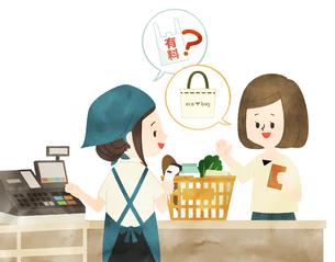スーパーで有料レジ袋を断る女性-水彩のイラスト素材 [FYI04605316]
