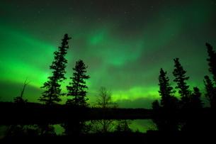 カナダ イエローナイフで湖に反射するオーロラの写真素材 [FYI04605460]
