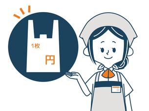 レジ袋有料-スーパーの店員のイラスト素材 [FYI04605589]