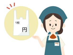 レジ袋有料-スーパーの店員のイラスト素材 [FYI04605590]
