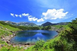 花咲く夏の立山 ミクリガ池と雄山などの山々の写真素材 [FYI04606037]