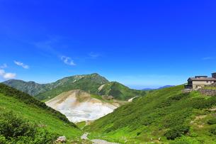 夏の立山 室堂平より地獄谷と大日連山の写真素材 [FYI04606072]