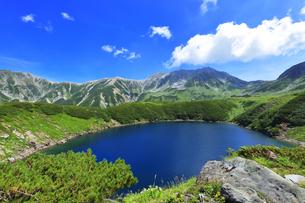 花咲く夏の立山 ミクリガ池と雄山などの山々の写真素材 [FYI04606073]