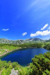 花咲く夏の立山 ミクリガ池と雄山などの山々の写真素材 [FYI04606075]