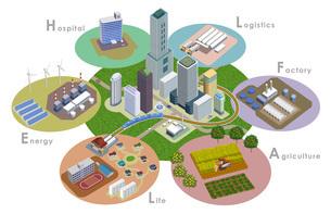 変化を続ける未来都市開発のイラスト。スマートシティのイラスト素材 [FYI04606264]