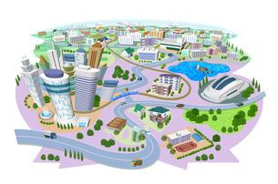 学校やスタジアムのある住宅やビルの街並み3Dイラストのイラスト素材 [FYI04606265]