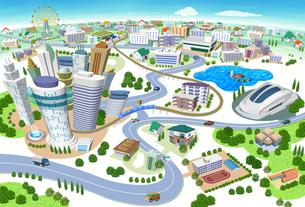 学校やスタジアムのある住宅やビルの街並み3Dイラストのイラスト素材 [FYI04606266]
