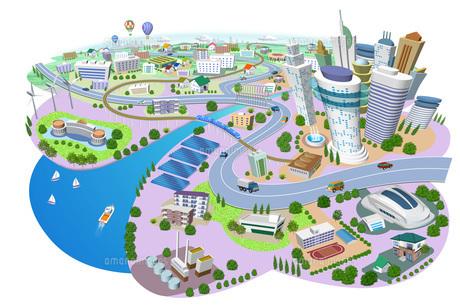 火力発電所、太陽光発電、風力発電のある住宅やビルの街並み3Dイラストのイラスト素材 [FYI04606267]