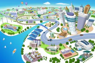 火力発電所、太陽光発電、風力発電のある住宅やビルの街並み3Dイラストのイラスト素材 [FYI04606268]