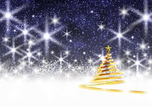 リボンのクリスマスツリー ゴールド 星空の背景のイラスト素材 [FYI04606508]