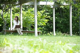 パーゴラの下で仕事をする若い女性の写真素材 [FYI04606617]