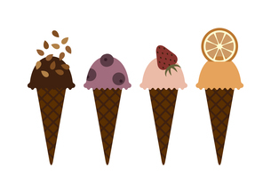 アイスクリームセットのイラスト素材 [FYI04606806]