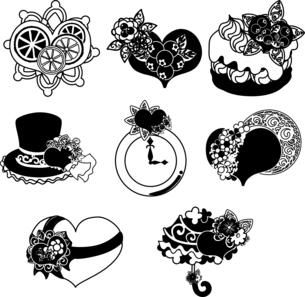 ケーキや帽子やシルクハットや時計や傘などの、可愛いハートの雑貨のアイコンいろいろのイラスト素材 [FYI04606818]