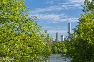 セントラルパーク生い茂る新緑に囲まれたザ レイクの後ろに見えるミッドタウンマンハッタンの摩天楼の写真素材 [FYI04606920]