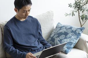 ノートパソコンを見る日本人男性の写真素材 [FYI04607070]