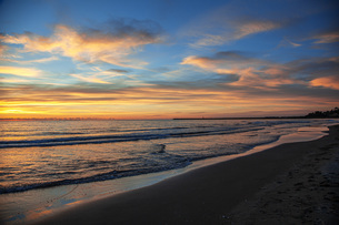 西浜海岸夕景の写真素材 [FYI04607134]