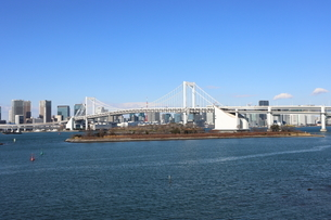 青空に映えるレインボーブリッジと東京都心の街並みの写真素材 [FYI04607590]