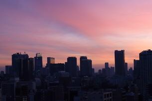 夕暮れ時の港区の高層ビル群の写真素材 [FYI04607647]