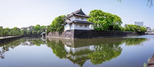 皇居の巽櫓(たつみやぐら)が桔梗濠(ききょうほり)に映える景観の写真素材 [FYI04607922]