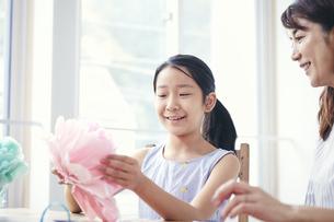屋内で遊ぶ女の子と母親の写真素材 [FYI04608249]
