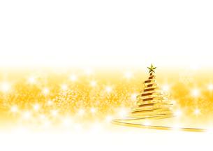リボンのクリスマスツリー ゴールド イエローと白の背景のイラスト素材 [FYI04609561]