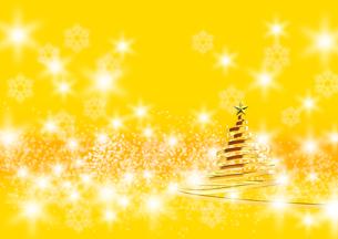 リボンのクリスマスツリー ゴールド イエローの背景のイラスト素材 [FYI04609562]