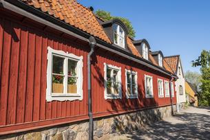 スウェーデン、ストックホルム、セーデルマルムの古い町並みの写真素材 [FYI04609906]