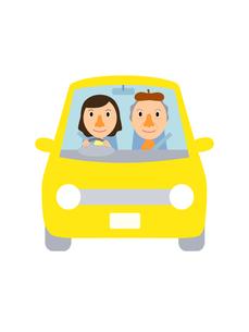 イラスト素材 ドライブ(1‐4) 女性と高齢男性のイラスト素材 [FYI04610124]