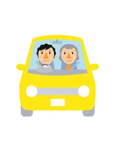 イラスト素材 ドライブ(1‐1) 男性と高齢女性のイラスト素材 [FYI04610126]